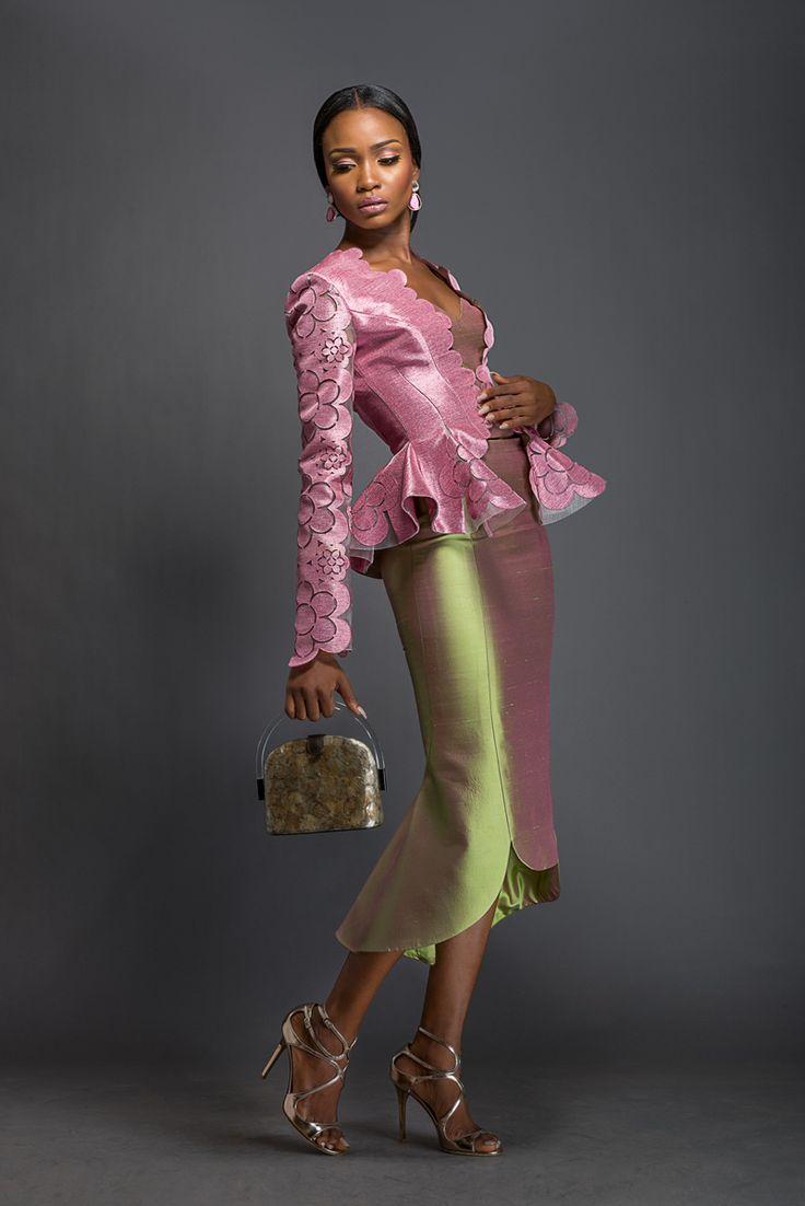 BELLA X ROSA Pastel violet Aso-oke peplum jacket patterned with Komole Kandids Daisy motif. Apple green midi skirt with winged hem.