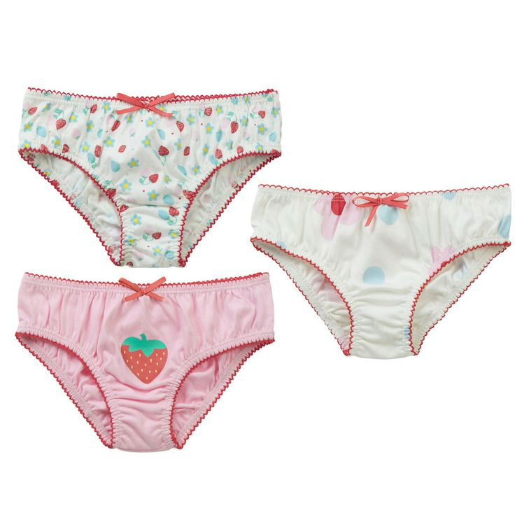 Girls Knickers - Strawberry/Daisy 3 Pack - available in sizes from 2-3 years up to 7-8 years - RRP £16.00