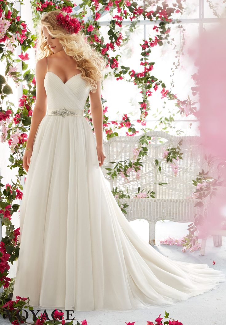 2016 Wedding Dress By Voyage featuring Asymmetrically Draped Bodice with Shoestring Straps on Soft Gown