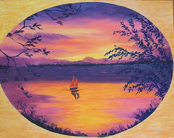 Original Landscape Mixed Media Painting Sunset by PatAdamsArt, $289.00