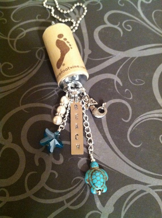 Wine Cork Necklace with Mermaid, Beach, Turtle, Starfish, & Pearl Charms on Etsy, $20.00