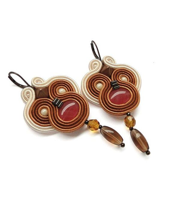 Long Chandelier Earrings Brown Chandelier by BeadsNSoutache