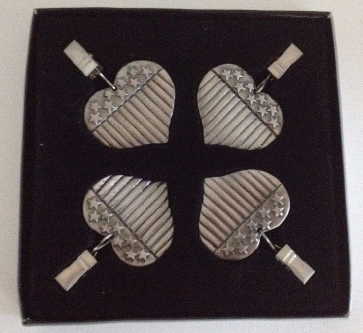 Pewter Tablecloth Weights Set of 4 Holders Outdoor Picnic Table Hangers #AMC