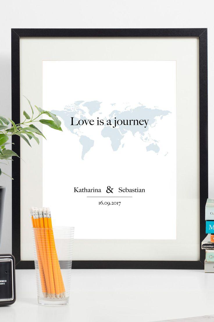 Dieses Poster wird mit euren Vornamen und einem von euch gewünschten Datum (Kennenlernen, Verlobung, Hochzeit) personalisiert.