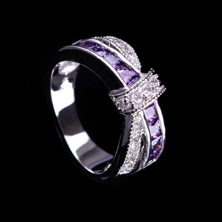 Cross Amethyst Wedding Ring