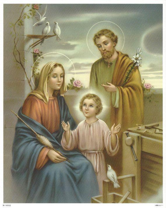 Heilige familie Jezus Mary St. Joseph foto katholieke Art