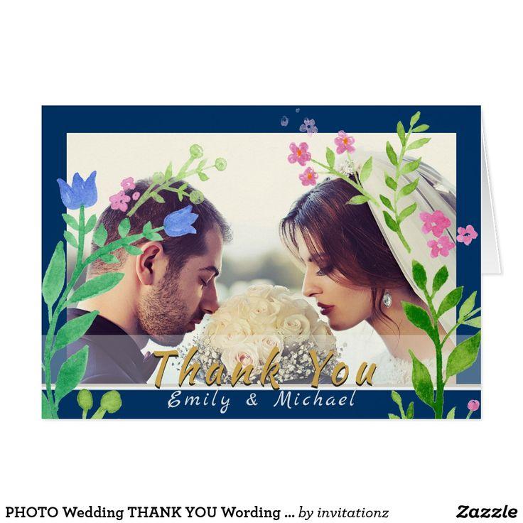 PHOTO Wedding THANK YOU Wording Template BLUE
