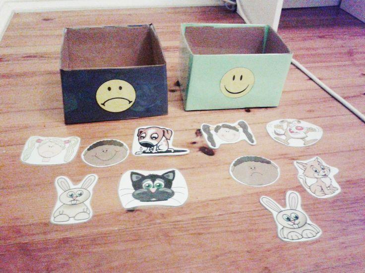 Associar as diferentes caras às emoções triste ou feliz (ideal para PEA)