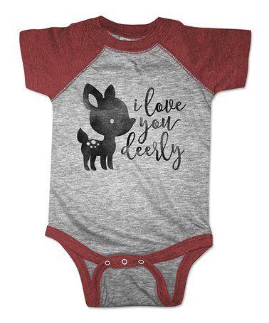 Look what I found on #zulily! Vintage Burgundy 'I Love You Deerly' Raglan Bodysuit - Infant #zulilyfinds