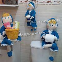 Bonecas organizadoras de lavabo <br>Valor de cada uma R$85,00 ou R$200,00 o trio <br>Boneca porta Papel higienico - Porta toalhas e Porta cotonetes <br>Em algodão e atoalhado!