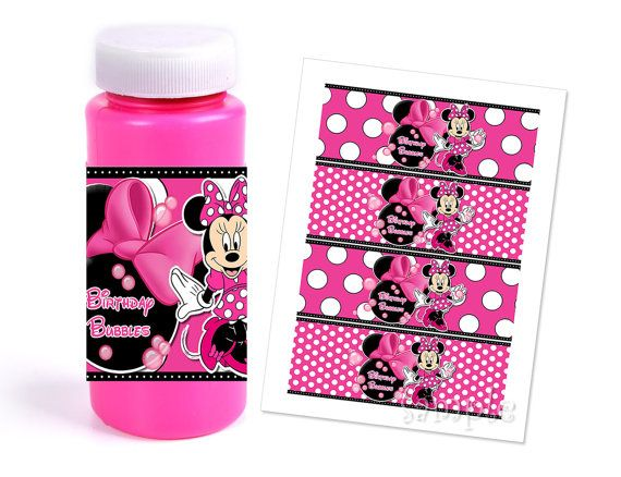 INSTANT DOWNLOAD Pink Minnie Mouse Bubble Wrappers - Minnie Mouse Party Favors via Etsy
