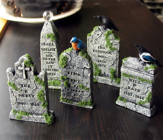 Dearly Departed Halloween Miniature Tombstone by bewilderandpine