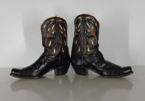 Vintage-1950-s-Acme-Men-s-Peewee-Shorty-Inlay-Cloth-Pull-Cowboy-Boots-10D
