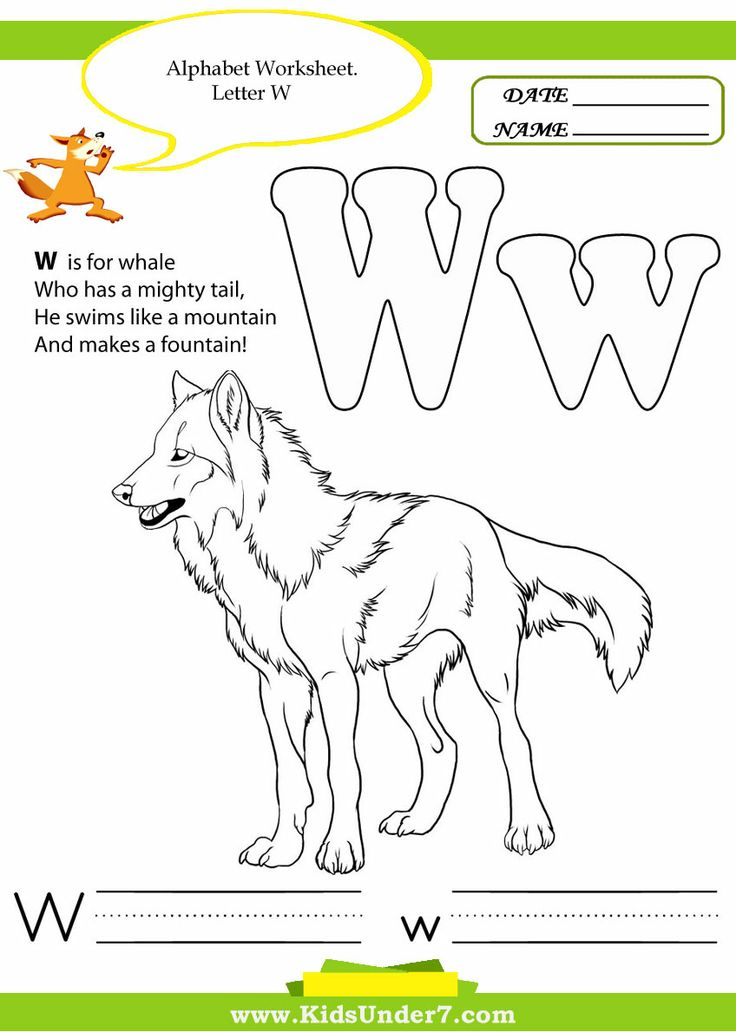 Letter W Coloring Pages For Preschoolers