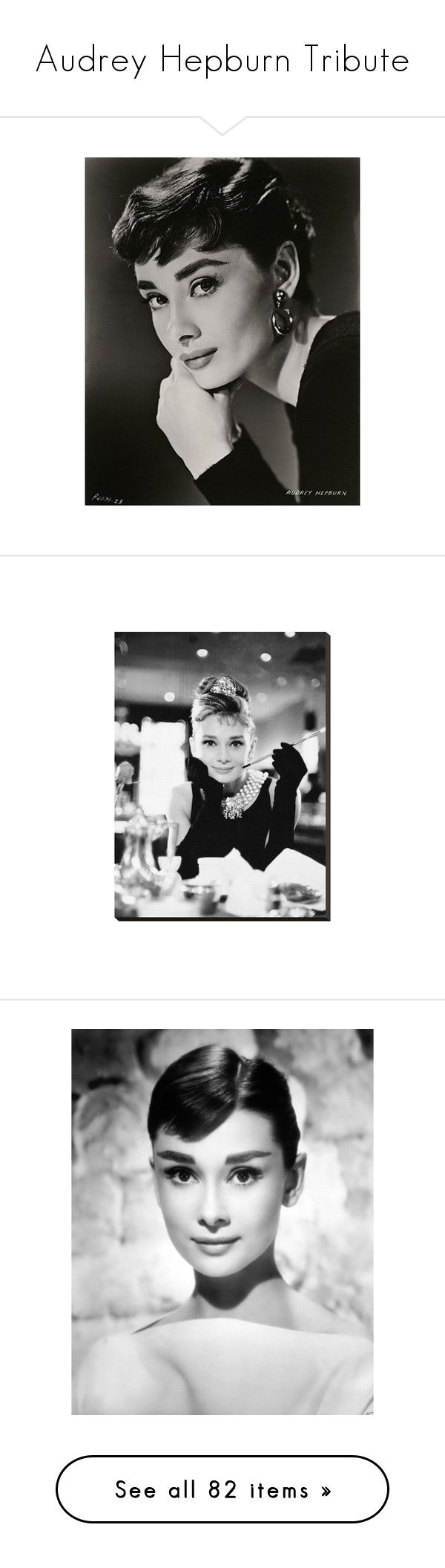 """""""Audrey Hepburn Tribute"""" by fashionista-jaygee ❤ liked on Polyvore featuring audrey hepburn, home, home decor, wall art, home wall decor, stretched canvas, canvas home decor, audrey hepburn wall art, audrey and models"""