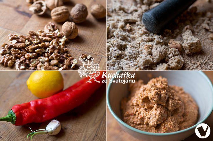 Výtečná arabská pomazánka, kterou si zamilujete. 50 g vlašských ořechů nasucho opražíme na pánvi a umeleme, 50 g suchého tmavého pečiva nadr...