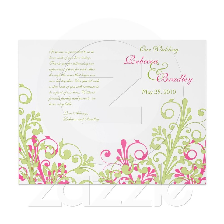 Hot Pink And Green Abstract Fl Wedding Program