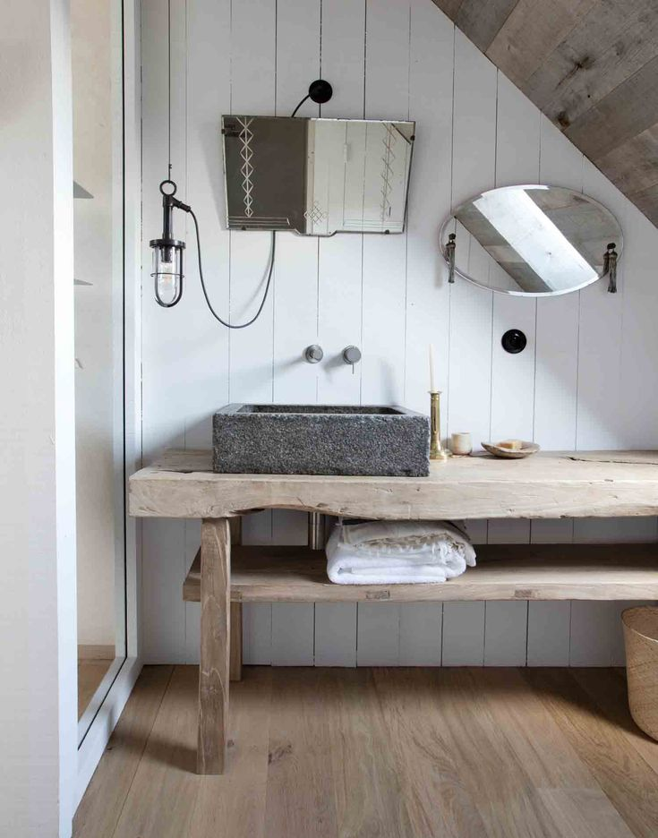 Console de salle de bain en orme brut ancien little poland en 2019 sdb bathroom wash stand - Console salle de bain ...