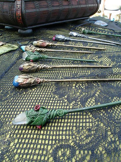 Hair Sticks with various stones by MaevinWren, via Flickr