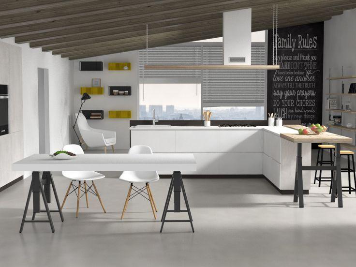 Tavolo da cucina T15A Veca Italy realizza e vende online tavoli da cucina con basamenti  Tavoli da cucina - Tavolo da pranzo T15A in legno melaminico, con basamento regolabile in metallo. Disponibile in 8 diverse finiture legno. Tavolo da soggiorno in stile moderno, design e materiali 100% made in Italy