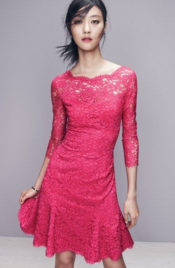 A vibrant pink lace dress is perfect for this season's spring/summer weddings. | Eliza J Lace Tulip Dress | Nordstrom