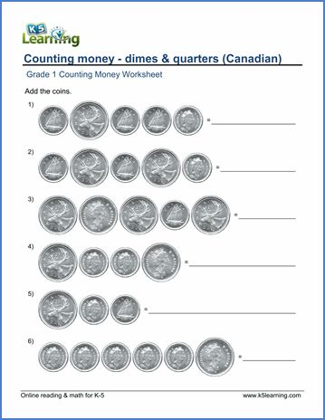 Grade 1 Counting money Worksheet on Canadian dimes and quarters