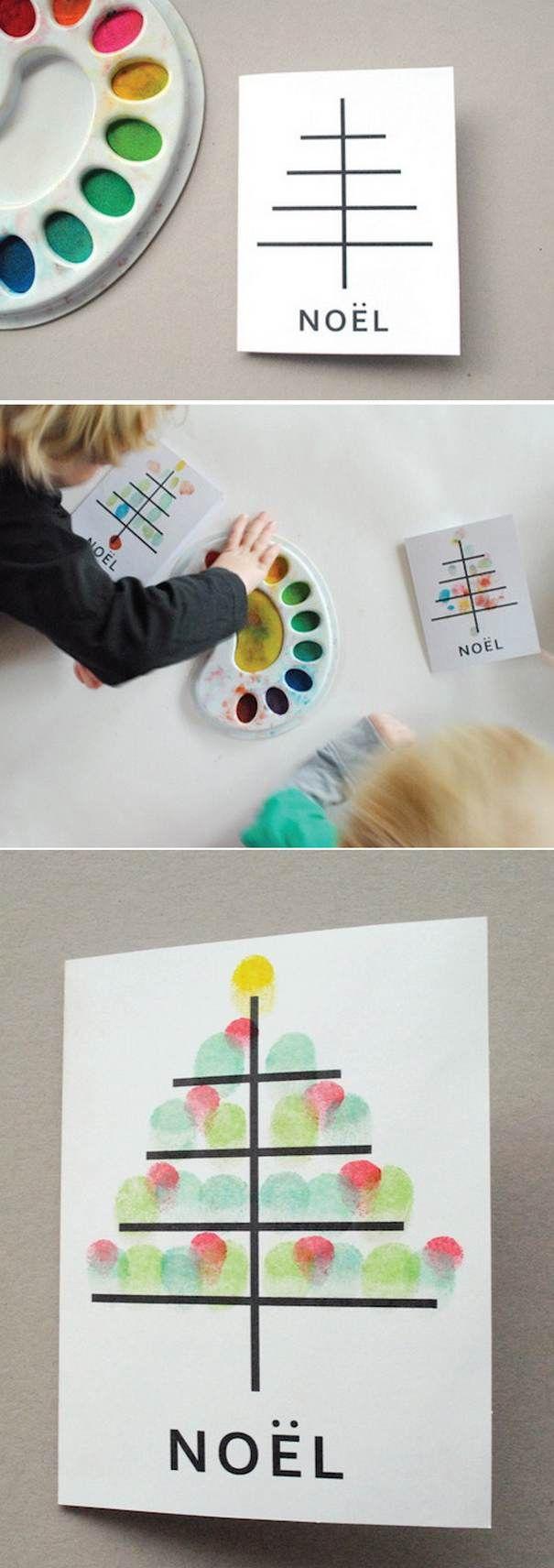Kinder verzieren mit Fingerabdrücken den vorgedruckten Baum