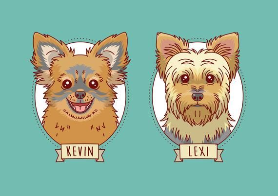 Retrato Dos Perros Ilustracion Mascotas Caricatura Pareja Etsy Pet Portraits Custom Pet Portraits Dog Drawing