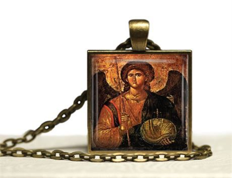 Christian glass tile pendant necklace with a Greek Orthodox icon image of the Archangel St Michael. Even though he is known as St Michael he is not a saint. Michael is known one of the seven Archangels and as the warrior angel, protector of Heaven. He is also the leader of all of Gods angels  The laser printed image has been adhered and sealed to a 1 square bronze pendant tray and glass tile. There is a 24 lobster clasp chain  This is a made to order. Please allow 4 days to make.An organza…