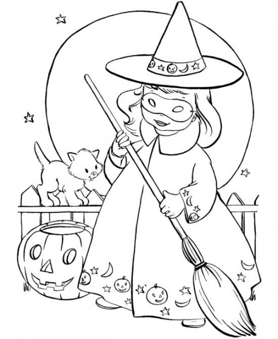 Printable Witch Of Halloween Coloring Sheets Free For Kids Picture 9 550x672