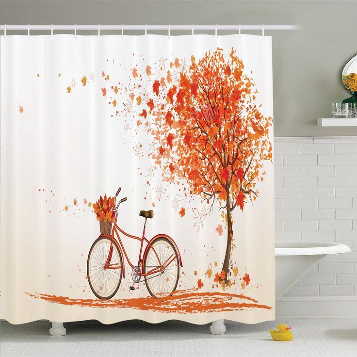 Fall Decor Bicycle Orange Tree Shower Curtain Set