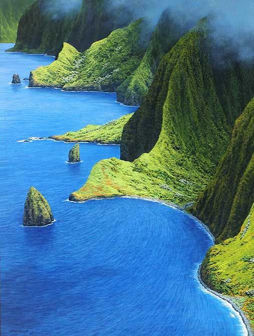 "ysvoice:    magicisfree:    landscapelifescape:    Molokai Summer Day, Hawaii, USA  via www.sargentsfineart.com    magicisfree: So beautiful..makes me think of Jurassic Park    Actually, ""Jurassic Park"" was filmed in Hawaii's other islands: aka 'Garden island' Kauai, Kualoa Ranch on island of Oahu, and many other State parks in California."