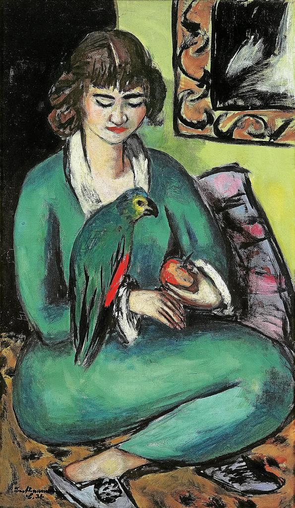 Max Beckmann (German, 1884 – 1950) Quappi with parrot (Quappi mit Papagei), 1936 Kunstmuseum, Mülheim an der Ruhr, Germany ""