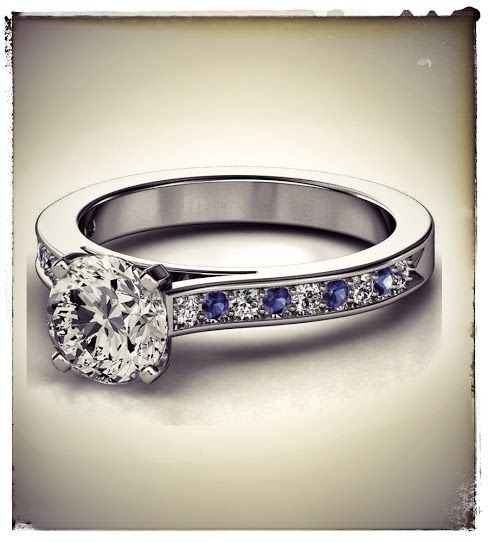 Diamond Engagement Ring Blue Sapphires & Diamonds band in White Gold