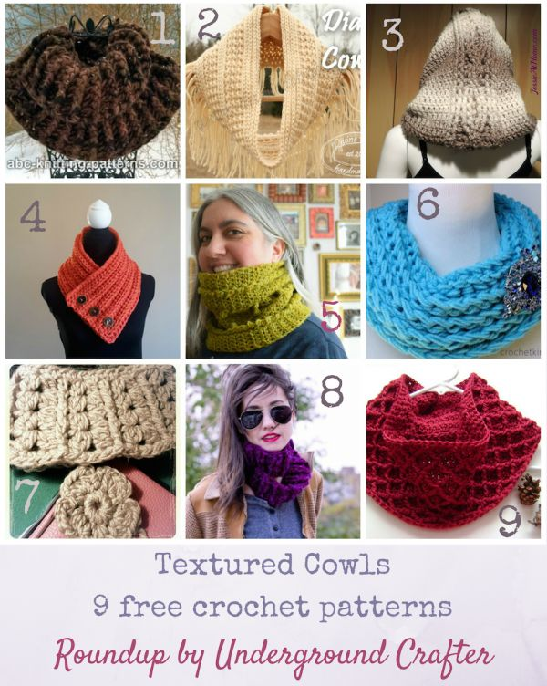 Roundup: 9 free crochet patterns for textured cowls, curated by Underground Crafter | Get ready for cool weather with these textured neckwarmer patterns!
