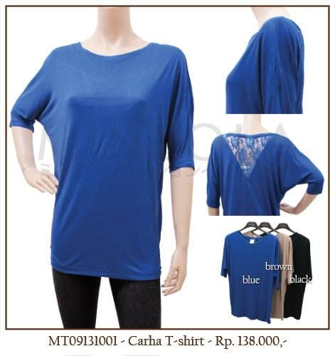 #MINEOLA Carha T-Shirt blue. Also available in brown and black color. Only Rp.138.000,- Bust: 114cm - Length: 67cm. Fabrics: chiffon + lace. Product code: MT09131001.  #MINEOLA #myMINEOLA #iWearMINEOLA #Fashion #OnlineShop #Indonesia #Jakarta #Brand #Import #Dress #Blouse #Top #Pants #Skirt #TokoBajuOnline #BajuImport #IndonesiaOnlineShop #OnlineShopIndonesia #FashionOnlineShop