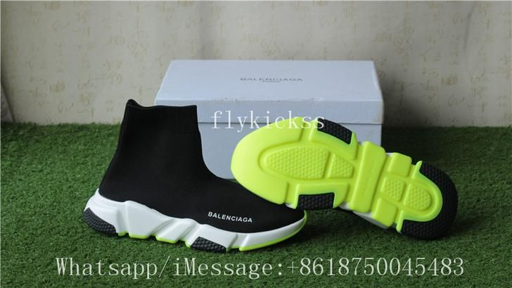 best deals on fashion styles big sale Balenciaga Speed Trainer Sock Shoes Black Volt Green in 2019 ...