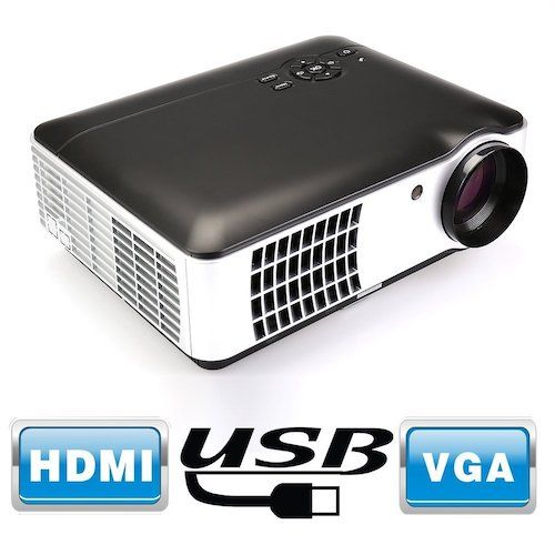 Top 10 Best Projectors Under 200 Dollar: 6. Flylinktech RD-806A 2800 Lumens Movie Projector Video Led Projector, Support 1080P HD for Home Theater Cinema Projector Small Business Presentation Game TV Movie (Black)