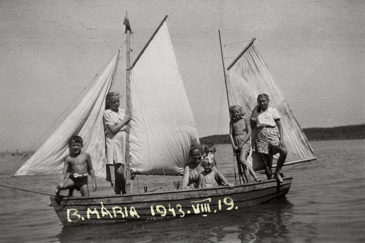 1943 Balatonmária, Kétárbócos vitorláshajó, fotó © Fortepan