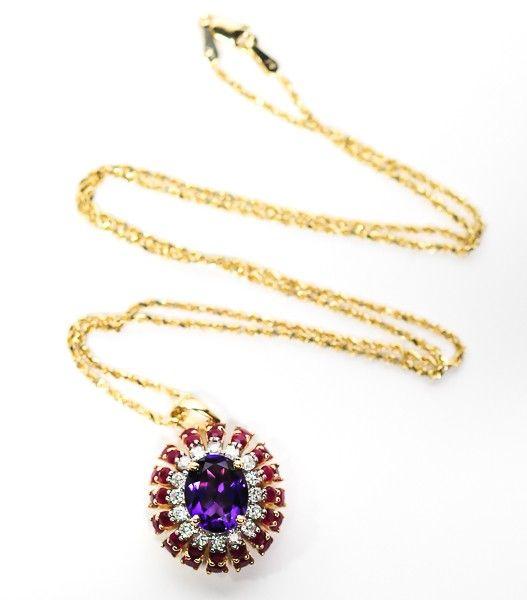 shopgoodwill.com: 14 K Gold Rope Chain Amethyst Ruby Diamond 7.4g