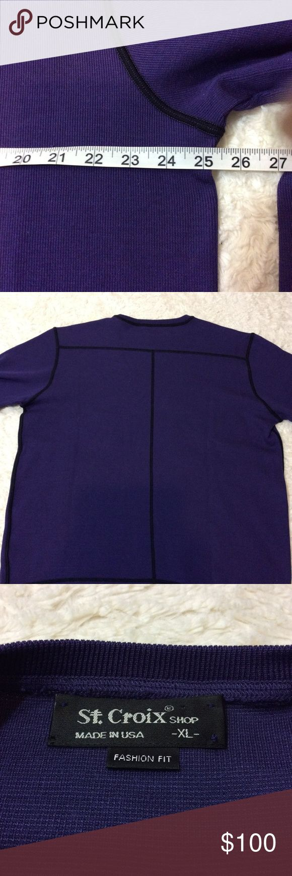 St. Croix open bottom cotton pullover New without tags. Size extra large. Chest measurement in the photo. Color amethyst and black. XL. Men's luxury knitwear. Men's casual shirt double lock cotton blend knit made in America. 70% cotton and 30% microfiber. Machine washable. Fashion fit for a slightly trimmer look. Shirts