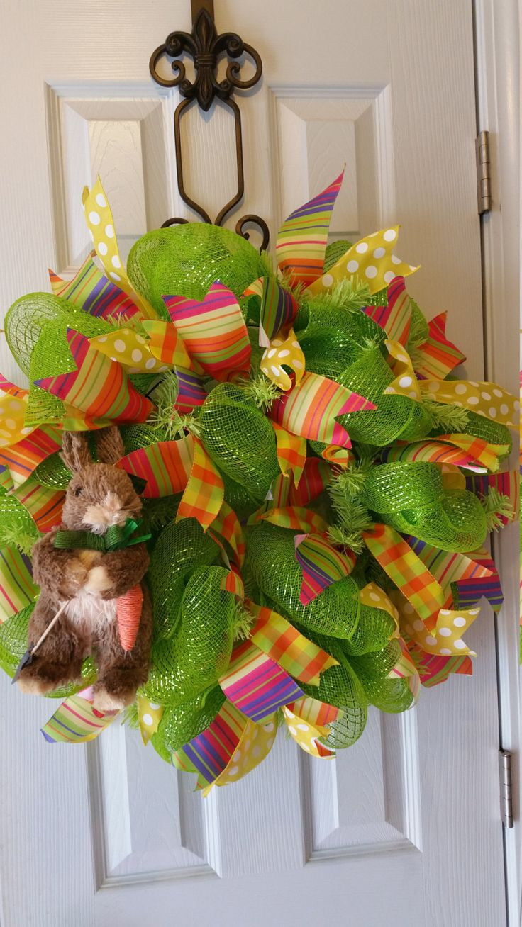Easter Spring Raz Rabbit Deco Mesh Wreath by WreathsBowsandThings on Etsy