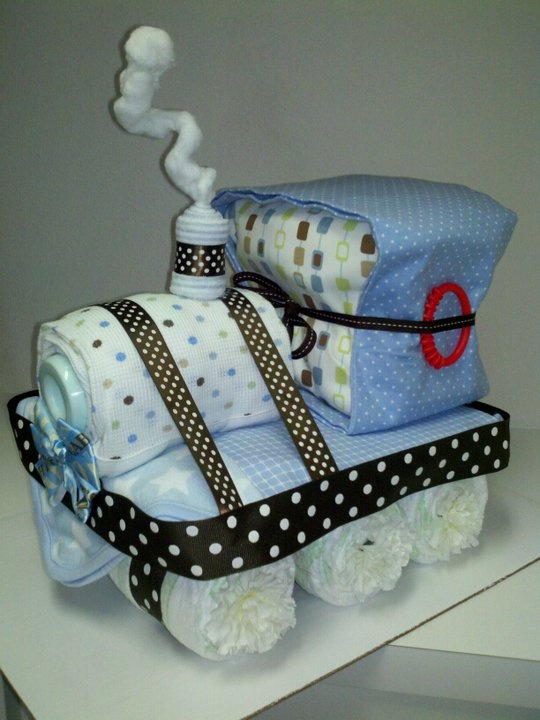 Baby Shower Gifts Made Out Of Diapers ~ Train made out of diapers and receiving blankets diy