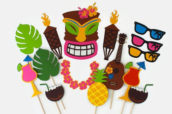 Hawaiian Tiki Photo Booth Prop Collection by PAPERandPANCAKES