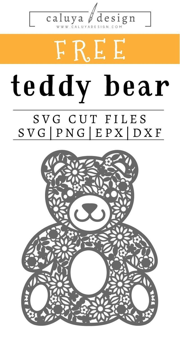 Free Teddy Bear SVG PNG EPS & DXF by Silhouette