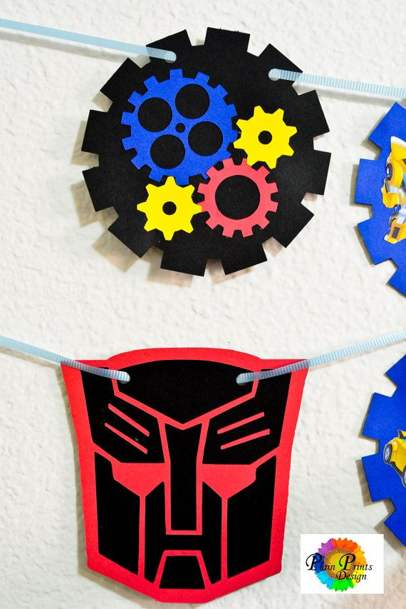Transformer Rescue Bots Birthday Banner by PlainPrintsDesign