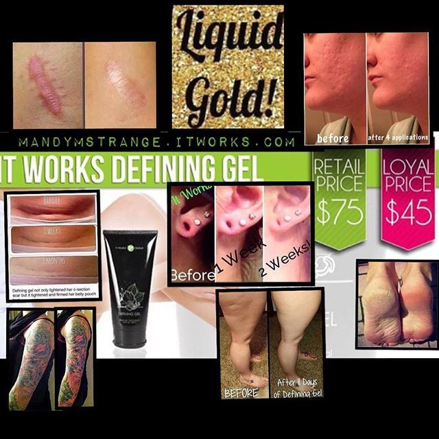 It Works Defining Gel has TONS of uses! It helps reduce the appearance of cellulite, varicose veins & scars, tightens skin, helps to heal dry skin, eczema, psoriasis and sunburn, and even brightens tattoos! It's called #liquidgold for a reason. Get it for my price by signing up for our 3 month Loyal Customer program when you check out. #skincare #cellulite #scars #eczema #vericoseveins #acnescars #tightentonefirm #brightentattoos #tattoos #dryskin #itworks #strangewraplady