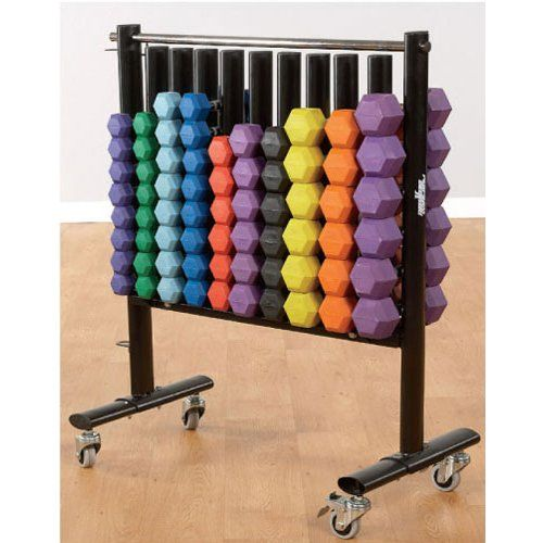 """Dumbbell Storage Rack with Dumbbell Package. (1) Dumbbell Storage Rack. (4 pairs) of the 2 lb., 3 lb., 4 lb., 5 lb. Dumbbells. (3 pairs) of the 6 lb., 7 lb., 8 lb., 9 lb., 10 lb., 12 lb. Dumbbells. Total number of dumbbells: 68. Dimensions 46""""H X 40""""W X 26""""D."""