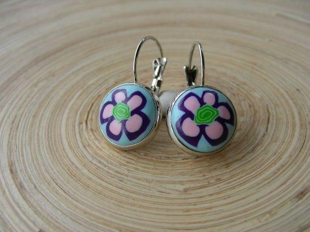 Ohrhänger mit Fimo Blumenmuster in rosa, lila grün