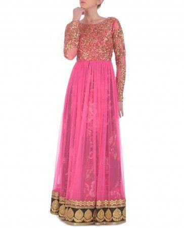 Neon Pink Anarkali Dress with Sequined Bodice by Kylee Shop Now: http://bit.ly/kyleewedding #Embroidery #Luxury #Fashion #DesignerWear #Multicolour #India #Ethnic #Desi #ExclusivelyIn #Indian #Sequins #Elegant #Lengha #Neon #Gorgeous #Designer #Golden #Zari #Lehenga #Print #PartyWear #Multicolor #WeddingWear #Kylee #Anarkali